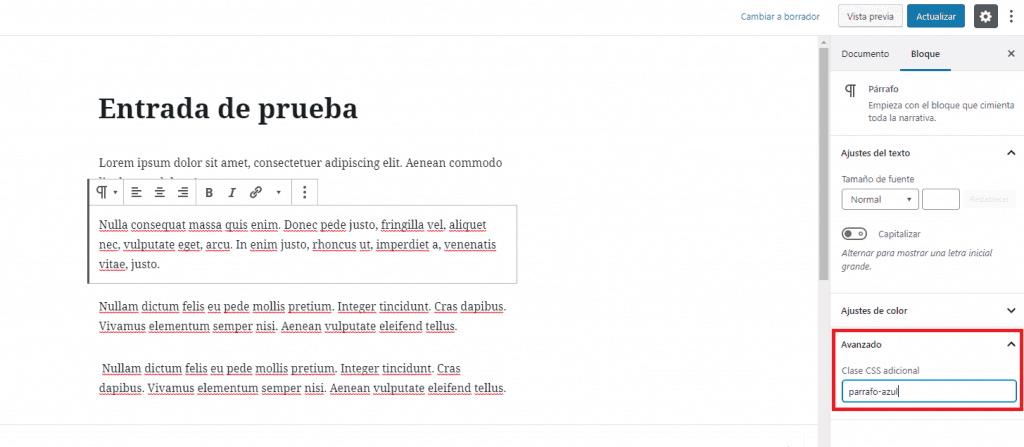 Clase CSS  añadida al párrafo destacado utilizando Gutenberg
