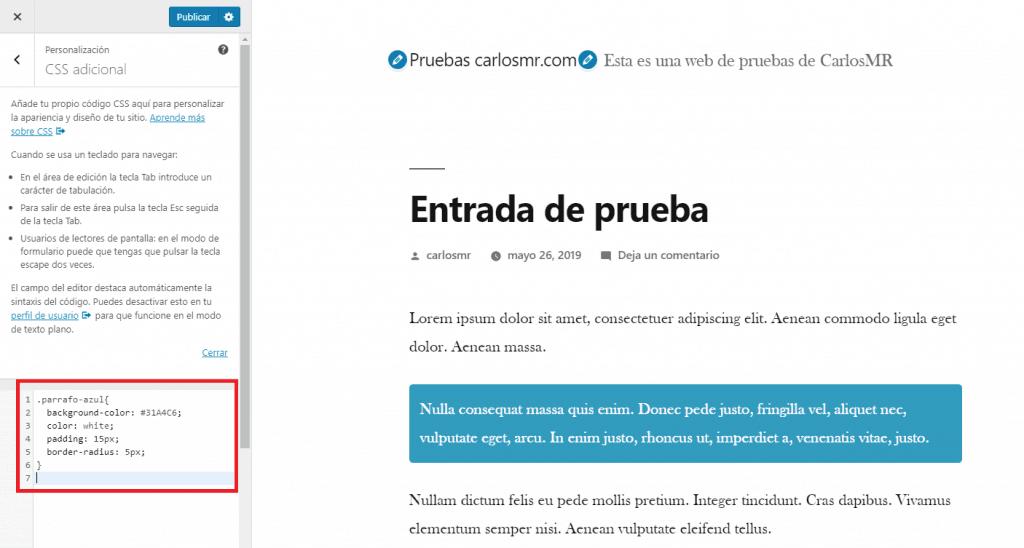 Codigo CSS en el personalizador de WordPress para las cajas de color
