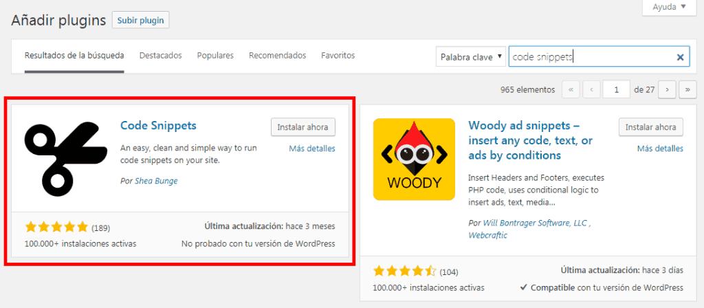 Instalacion Code Snippets en WordPress