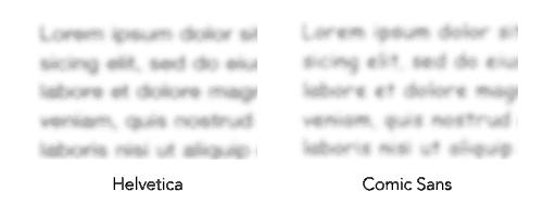 Efecto visual Comic Sans