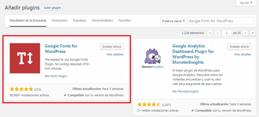 Instalación del plugin Google Fonts for WordPress
