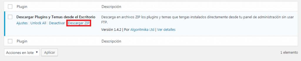 Nueva opcion Descargar ZIP en plugins