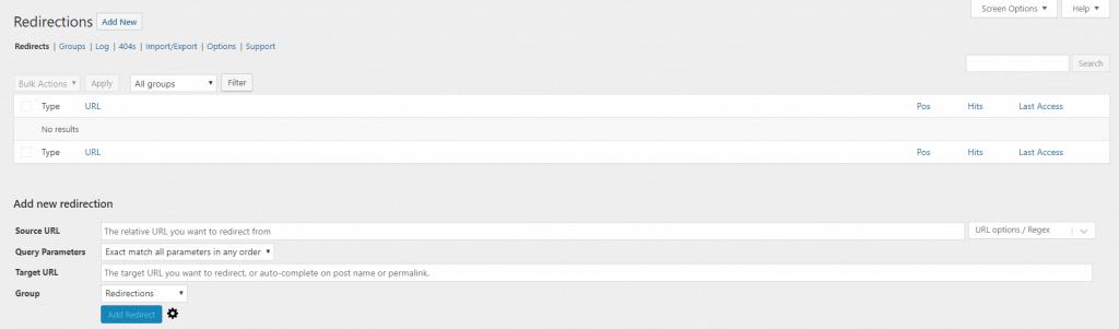 Panel principal del plugin redirection para ver las redirecciones de paginas y artículos