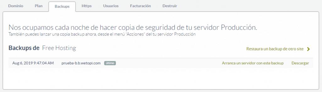 Opciones de copias de seguridad automáticas en WordPress