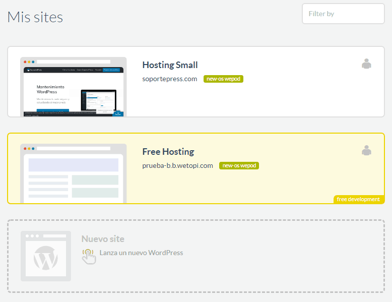 Sitios en Wetopi: Hosting WordPress Especializado.
