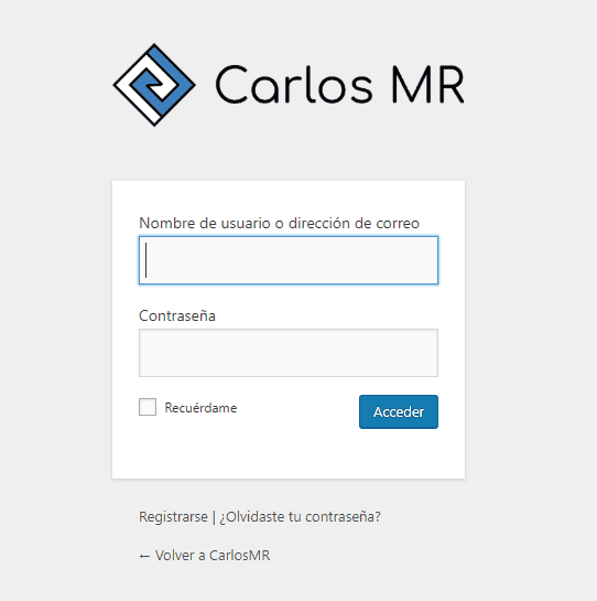 Login de WordPress personalizado con logo y enlace propios