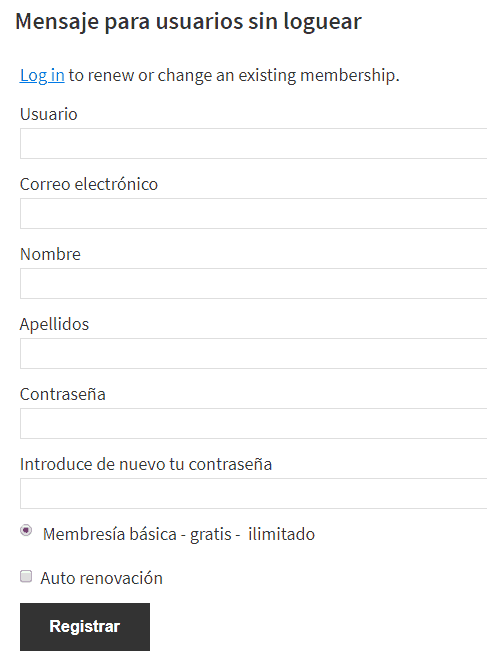 Título del formulario de Restrict content pro para usuarios no conectados